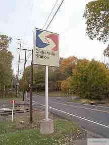 Sign at The Churchville Train Station