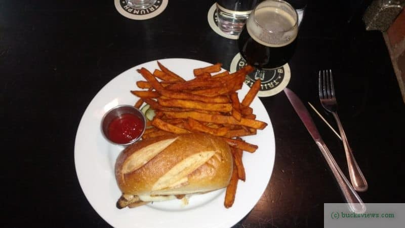 Chicken Sandwich and Sweet Potato Fries at the Triumph Brewery in New Hope, PA