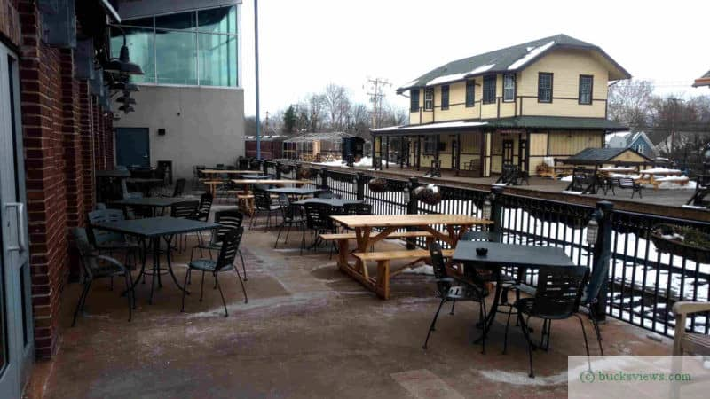 Outdoor seating at the Triumph Brewery
