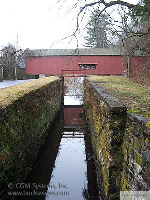 Uhlerstown Covered Bridge - Side view over canal