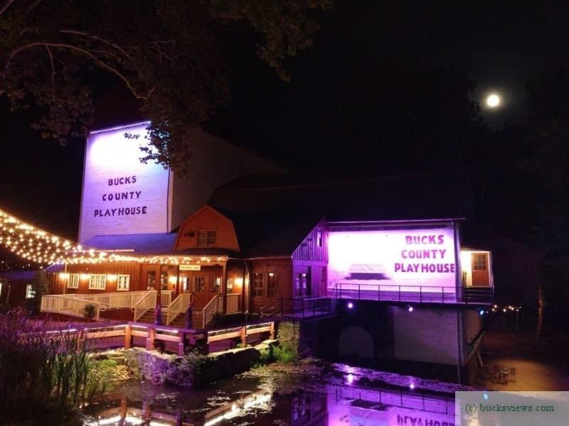 Bucks County Playhouse at night