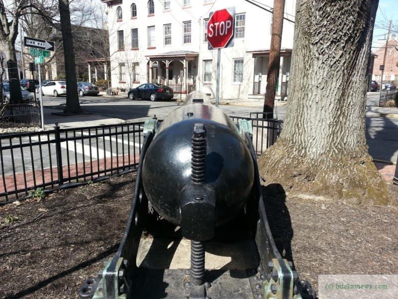 Civil War Canon in Lambertville. Breech View