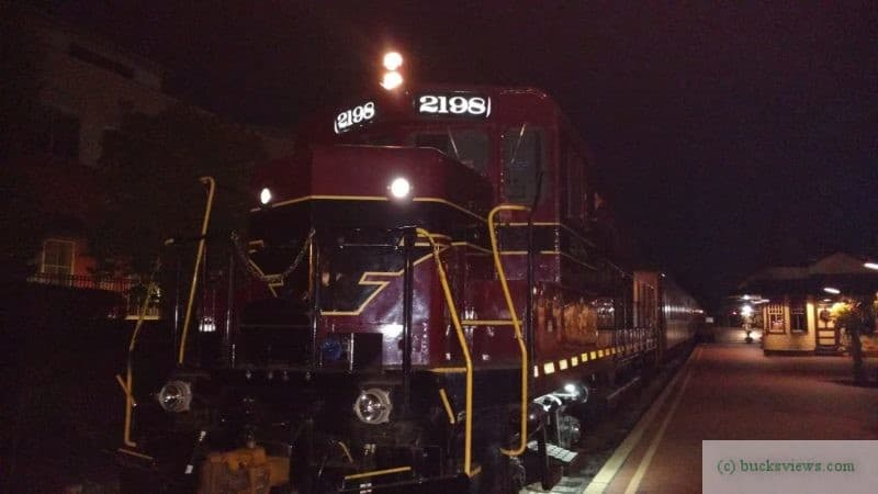 Engine 2198 at night at the New Hope Station