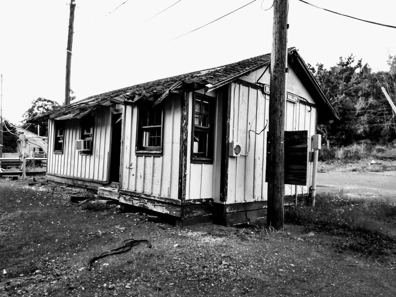 Buckingham Valley Station on the New Hope Railroad Line - Black and White
