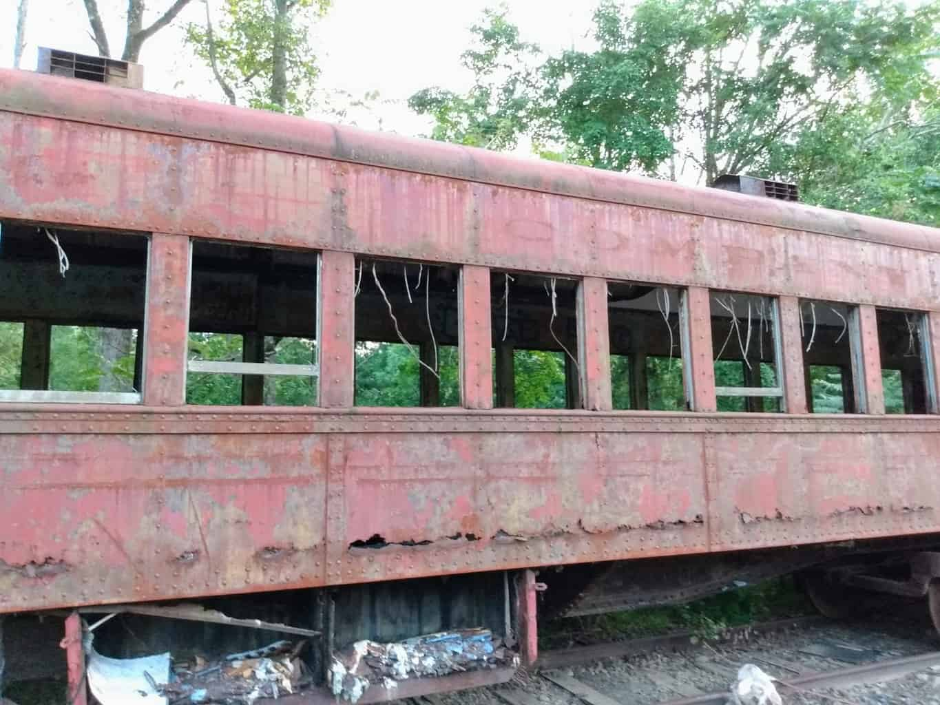 Old Reading Company Coach on a New Hope Railroad Siding. Side view