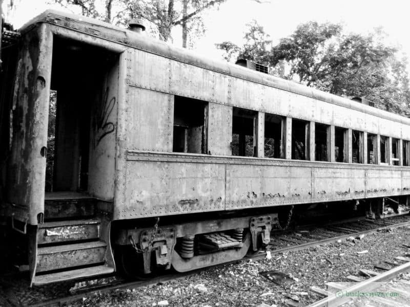 Old Reading Company Coach on a New Hope Railroad Siding. Black and White