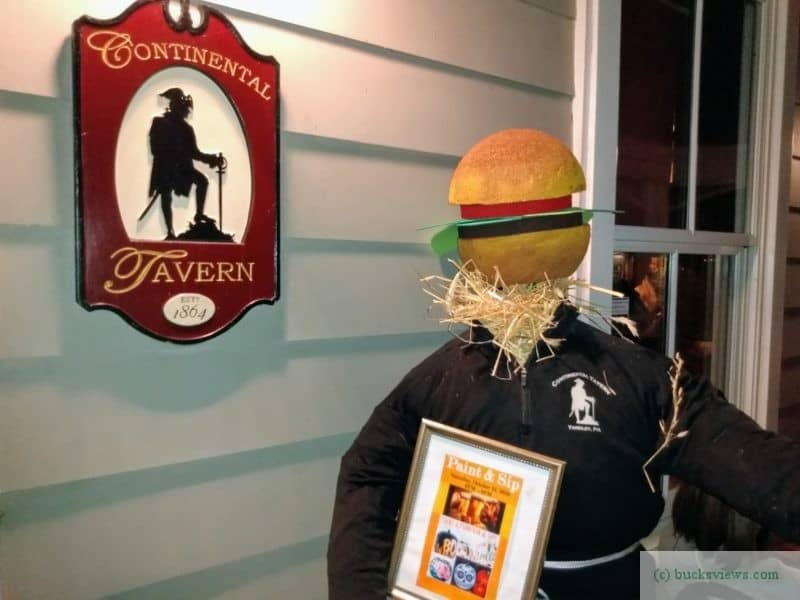 Burger head scarecrow at the Continental Tavern in Yardley
