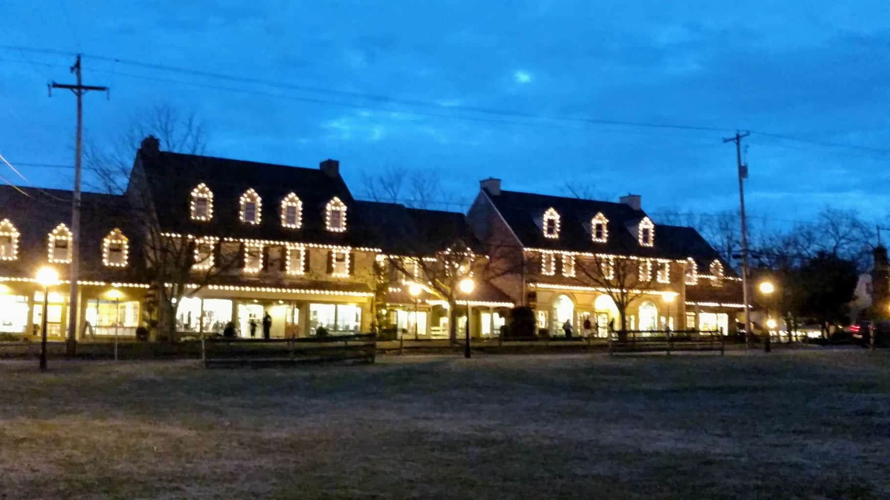 Peddler's Village at night, Lahaska, PA