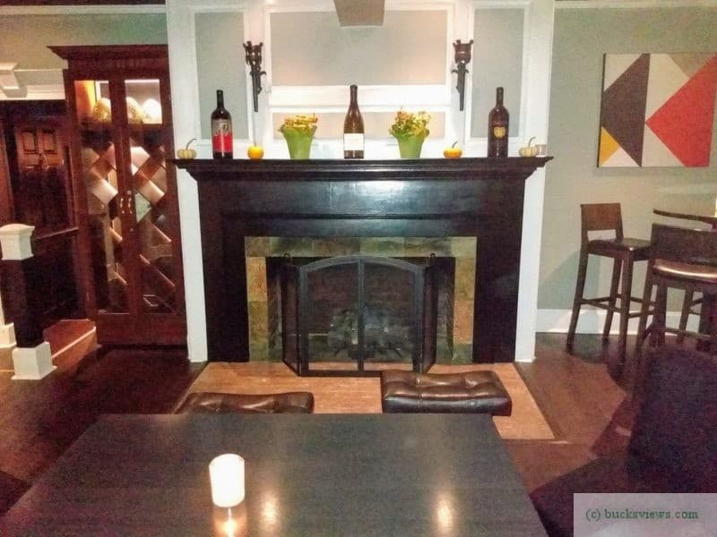 Fireplace at the bar at Grey Stone